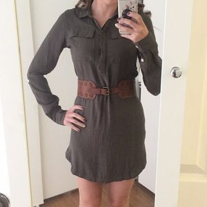 Olive Button up collared dress